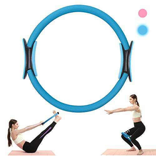 LVCHEN Pilates Magic Circle Ring Workout Yoga Rings Pilates Reformer Exercise Resistance Training Equipment for Toning Fitness Arms Thigh and Legs (Blue, A)