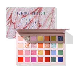 28 Colours Bright Eyeshadow Palette Makeup,11 Matte11 Shimmer (Pearlescent)6 Glitter Highly Pigmented Colourful Long-Lasting Professional Eye Shadow Make Up Pallet by Samnyte(8.5oz)