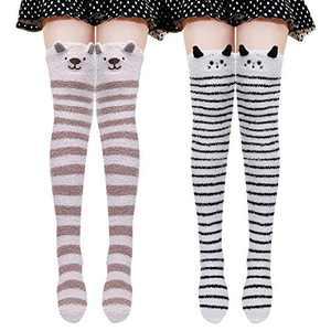 Over The Knee Socks Cute Cartoon Thigh High Stockings Warm Stripe Leg Warmers(Cat/Dog)