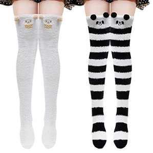 Womens Thigh High Fuzzy Socks Cute Cartoon over the knee Stockings Warm Stripe Leg Warmers(Sheep/Panda)
