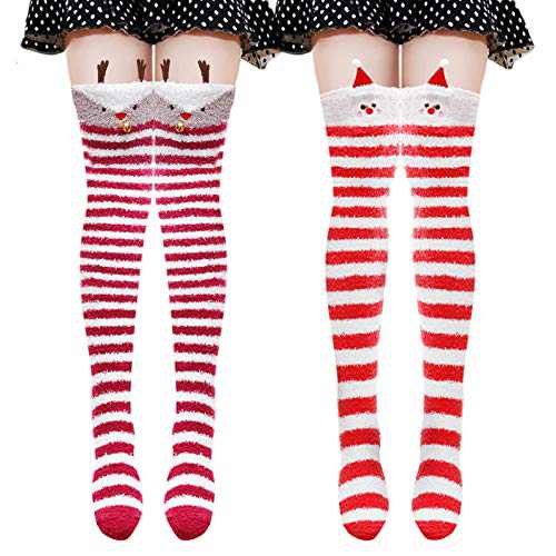 Cute Knee High Socks Fuzzy Cartoon over the knee Stockings Warm Stripe Leg Warmers(Red Hat/Deer)