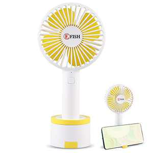 EFISH Mini Handheld Fan,USB Desk Fan With a Fixed Base to Put the Phone,Small Personal Portable Table Fan with USB Rechargeable Battery Cooling Electric Fan for Travel,Office Room,Household(White)