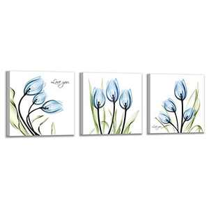 Kaupuar Bolant Decor Elegant Blue Tulip Canvas Printing Wall Art Painting Living Room Decoration and Modern Home Decoration Photo Printing (3 Pieces 12X12inch, Blue Flowers)