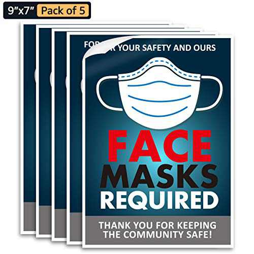 "Face Mask Request Sign, 5 PCS Face Mask Required Decals 7""x9"" Creative Window Wall Notice Stickers Poster for Indoor Outdoor Public Safety Signs Blue"