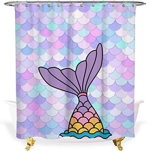 Mermaid Scale Shower Curtain,72-inch Fabric Shower Curtains for Bathroom,Mermaid Bathroom Decor,Waterproof Cloth Bath Curtain,3D Art Print,(72x72,Colorful Tail)