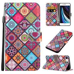 Coolden for iPhone Xs MAX Case Wallet Credit Card Holder Magnetic Closure Ethnic Totem Kickstand Lanyard PU Leather Slim Protective Front Folio Cover for 6.5 inch iPhone Xs Max Colorful