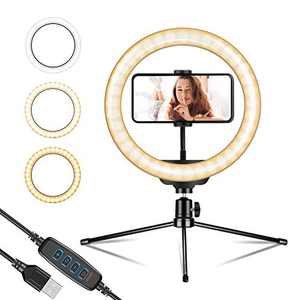 """10"""" Ring Light Selfie Light Ring with Tripod Stand, Cell Phone Holder & Controller 3200-5600K 120 Bulbs Dimmable Desktop Led Camera Beauty Ringlight for YouTube/TikTok/Live Stream/Makeup/Photography"""