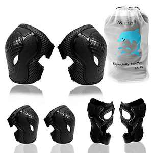 Elbow Pads and Knee Pads for Kids, 6-in-1 Kids Protective Gear Set Elbow Pads with Wrist Guards & Adjustable Strap for Cycling Skateboarding Inline Skating Scooter Roller Skating BMX Bike Sports