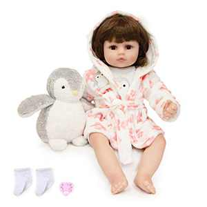 """TCBunny 22"""" Reborn Newborn Baby Doll Realistic Lifelike Handmade Weighted Baby for Ages 3+, Soft Silicone Vinyl"""