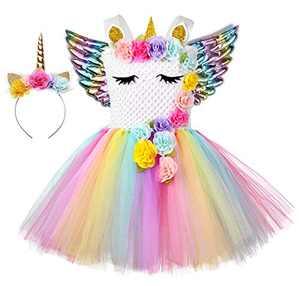Tutu Dreams Unicorn Dress with Wings for Girls 1-12Y Gold Rainbow Halloween Birthday Party (Rainbow-2, 8-9 Years)