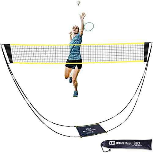 MOISO Portable Badminton Net Set with Stand Carry Bag, Folding Volleyball Tennis Net – Easy Setup for Outdoor/Indoor Court, Backyard, No Tools or Stakes Required