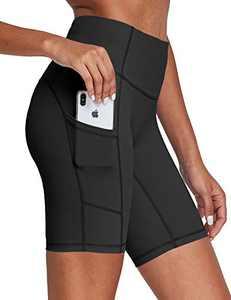FitsT4 High Waisted Yoga Biker Shorts for Women Gym Workout Running-7 Inch Long Athletic Compression Spandex Pocket Shorts Black