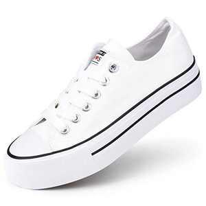 JENN ARDOR Women's Canvas Platform Sneakers Low Top Canvas Casual Shoes Lace Up Walking Flats White