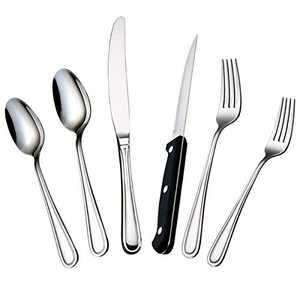 faderic 24 Piece Silverware Flatware Cutlery Set, Stainless Steel Flatware Sets For Home Kitchen Restaurant for 4, Include Knife Fork Spoon, Mirror Polished, Dishwasher Safe