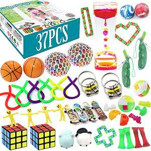 Fidget Toys Set, pingqian 37Pcs Stress Relief Hand Toys for Adults Kids ADHD ADD Anxiety Autism, Stretchy String/Finger Skateboards/ Grape Ball/Liquid Motion Timer/Soybean Squeeze/Flippy Chain&More
