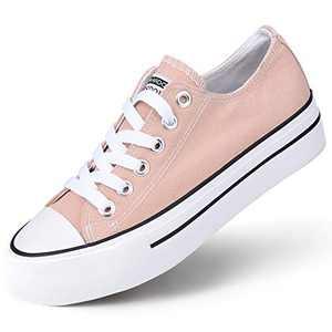 JENN ARDOR Women's Canvas Platform Sneakers Low Top Canvas Casual Shoes Lace Up Walking Flats Pink