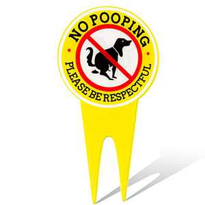 14.2 x 7.9 Inches Double Sided No Pooping Dog Signs - Waterproof Please Be Respectful White No Poop Dog Sign with Stake for Stopping Dogs from Pooping or Peeing on Your Lawn Yard Sign