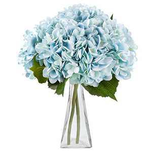 Artificial Flowers Hydrangea Silk Flowers 5PCS Large Heads Faux Hydrangea with Stems for Wedding Centerpieces Bouquets Home Party Decor (Blue)