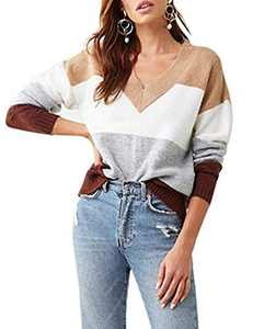 Cogild Pullover Sweaters for Women, Vneck Long-Sleeve Color Block Women's Sweater, Drop Shoulder Jumper Casual Sweater Khaki