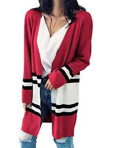 Alsol Lamesa Cardigan Sweater for Women,Open Front Cardigan Color Block,Long Sleeve Knit Lightweight Sweaters