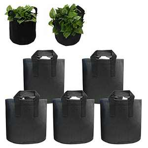 5-Pack 5-15 Gallons Grow Bags -PET Recycled Environmental Protection Fabric Plant Pots with Handles (10 Gallons)