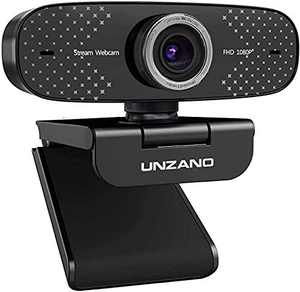 Full HD Webcam with Microphone,UNZANO Webcam with Microphone for Desktop Streaming Webcam USB Computer Webcam,Web Camera for Computer PC Mac,Web Cam for Zoom Meeting FaceTime Conferencing