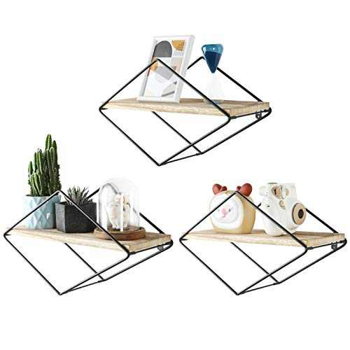 SUEH DESIGN Geometric Floating Shelves Diamond Rustic Wood Wall Shelves Elegant Home Decor for Bedroom, Bathroom, Living Room and More - Screwdriver Anchors Included Set of 3(Black)