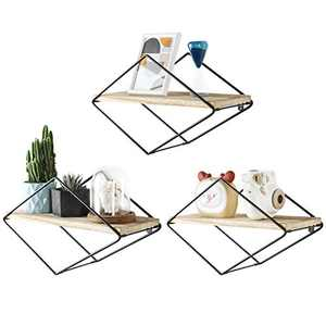 SUEH DESIGN Geometric Floating Shelves Diamond Rustic Wood Wall Shelves Elegant Home Decor for Bedroom, Bathroom, Living Room and More - Screwdriver Anchors Included Set of 3(Black)