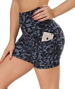 """Opuntia Biker Shorts for Women with Pockets - 8""""/4"""" High Waisted Tummy Control 4 Way Stretch for Yoga Running Cycling"""