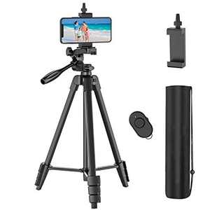 54 inch Phone Tripod with Rechargeable Remote, Lightweight Aluminum Travel Camera Tripod with Extendable Tripod Stand, Phone Holder and Carry Bag, for iPhone/Android Phones/GoPro/DSLR Cameras