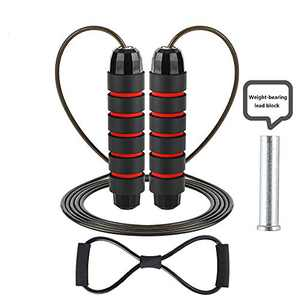 Weighted Jump Rope - (1LB) Tangle-Free Adjustable Ball Bearings Rapid Speed Skipping Rope Foam Handles for Aerobic Exercise,Speed Training,Endurance Training and Fitness Gym for Men Woman Kids