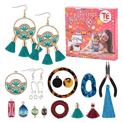 Earrings Making Kit - Comes with a Wide Range of Designs, Stoppers, Hooks & Accessories - Perfect for Hobbyists DIY Ear Jewelry Crafting Bundle for Artistic and Stylish Adults