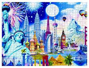 "VATOS 1000 Piece Puzzles for Adults Jigsaw Puzzles 29.5"" X 20"" - Landmarks Adult Puzzle World Impression - Family Puzzle Game Entertainment DIY Toys for Creative Gift"
