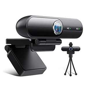 BIBENE HD Web Cameras for Computers with Microphone Free Tripod 120° Wide Angle Web Cam 1080p Streaming Webcam - Pro Computer Camera for Streaming, Recording, Video Chatting, Skype(Black)