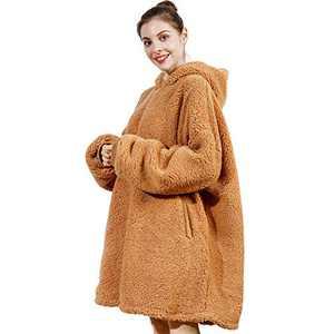 AmyHomie Blanket Sweatshirt, Oversized Sherpa Hooded Sweatshirt Blanket,Fleecehug Hoodie Wearable Blanket with Pocket for Adults & Kids & Teens