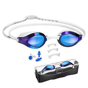 Swimming Goggles, with Scale Head Strap Swim Goggles, Clear Vision Anti Fog & Glare No Leaking for Adult Kids