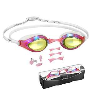 Swimming Goggles, with ScaleHeadStrap ProfessionalRacingSwimGoggles, Clear VisionUV Protection Anti Fog No Leaking Anti-Glare forUnisex Adult Kids,with3SizeNosePieces, Earplugs,Noseclips
