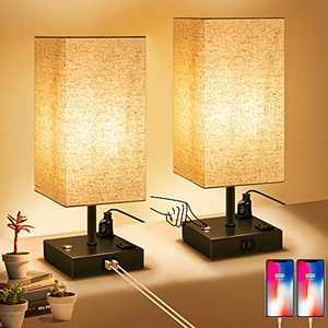 Touch Control Table Lamp for Bedroom 3 Way Dimmable Bedside Lamp with USB Port and Outlet Nightstand Lamps Square Fabric Shade Metal Base Table Lamps for Bedrooms Set of 2 Bedroom Lamp Bulbs Included