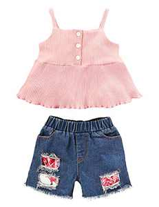 Mutiggee Baby Girl Ruffles Summer Clothes Infant Denim Jeans Outfit (Pink03,12-18 Months)