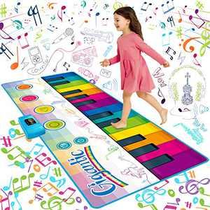 "SUNLIN Giant Floor Piano Mat, 24 Keys Keyboard Play Mat, Jumbo Musical Instrument Toys Gift for Boys Girls Kids Toddlers (71""x29"") - Dance Mat with Record, Playback, Demo, Education Toys for Age 3+"
