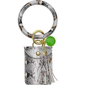 Amazon Essentials Keychain Bracelet, Leather Wristlet Keychain Bracelet with Tassel for Women