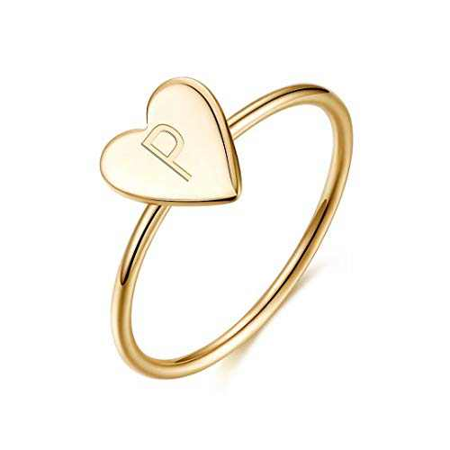 Initial Rings for Girls Women, 925 Sterling Silver Dainty Letter P Initial Heart Stacking Ring Gold Rings for Women Teen Girls Kids Jewelry Gifts, Mother's Valentines Day Girls Gifts for Her
