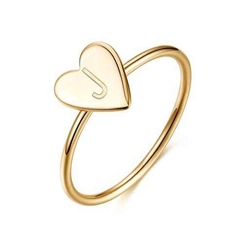 Memorjew Initial Rings for Girls Women, 925 Sterling Silver Dainty Letter J Initial Heart Stacking Ring Gold Rings for Women Teen Girls Kids Jewelry Gifts, Mother's Valentines Day Girls Niece Gifts