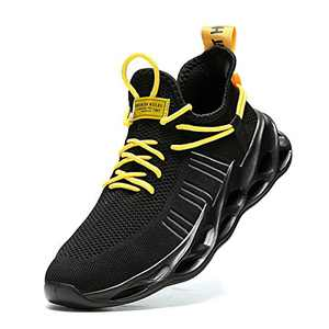 Nihaoya Walking Blade Type Sneakers,Tennis Shoes No Slip Black and Yellow Size 8.5