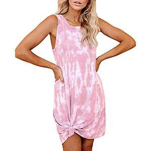 Women's Tie Dye Tank Sleeveless Knee Length Pleated Sun Dresses Pajama Sleep Shirt Lounge Dress (L, B-Pink)