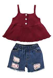 Mutiggee Baby Girl Sling Top Toddler Tassel Denim Shorts (Red02,2-3 T)