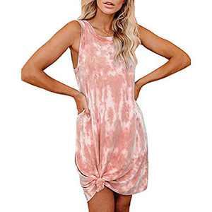 Women's Tie Dye Tank Sleeveless Knee Length Pleated Sun Dresses Pajama Sleep Shirt Lounge Dress (XXL, B-Orange)