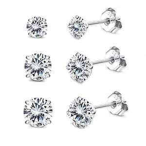 Sllaiss 3Pairs 925 Sterling Silver Stud Earrings Set 4-6mm Cubic Zirconia Ear Studs for Women Men with Butterfly Push Backs for Birthday Anniversary