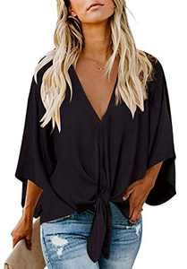 Women's Casual Floral Blouse Batwing Sleeve Loose Fitting Shirts Boho Knot Front Tops Black 2XL