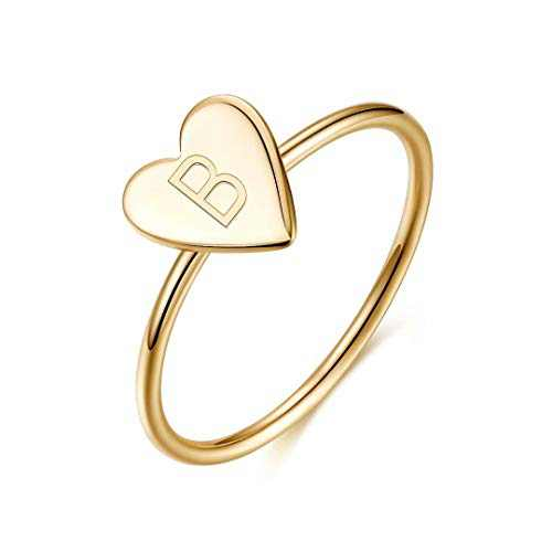 Initial Rings for Girls Women, 925 Sterling Silver Dainty Letter B Initial Heart Stacking Ring Gold Rings for Women Teen Girls Kids Jewelry Gifts, Mother's Valentines Day Girls Gifts for Her